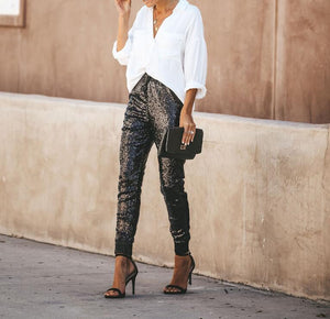 Black Drawstring Sequin Pencil Pants
