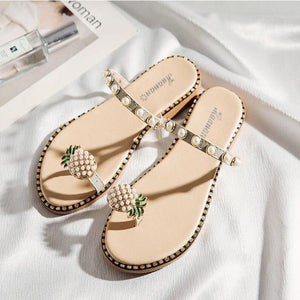 Pineapple Toe Ring Sandals - Multiple Styles 9 Beige lace