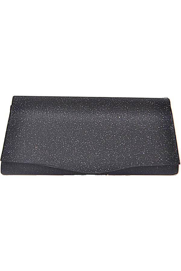 Rectangular shiny evening clutch Black
