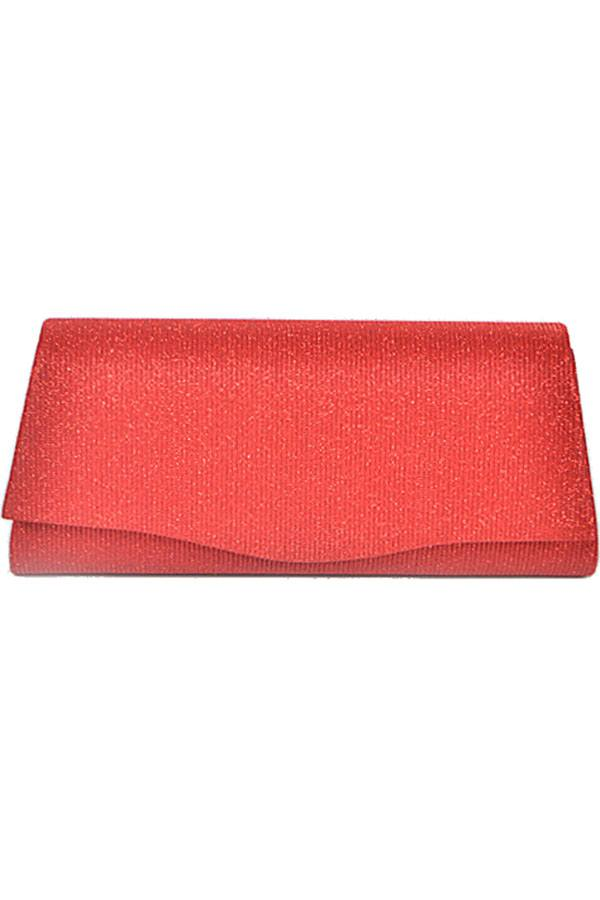 Rectangular shiny evening clutch Red