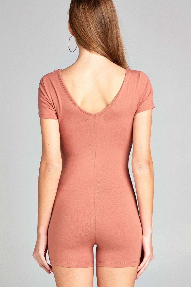 Short Sleeve V-neck Cotton Spandex Bodycon Romper Dusty Apricot