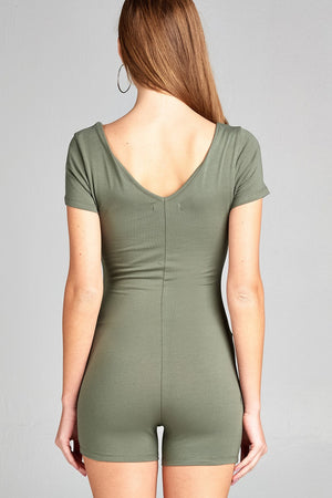 Short Sleeve V-neck Cotton Spandex Bodycon Romper Earth Olive