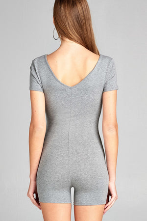 Short Sleeve V-neck Cotton Spandex Bodycon Romper Heather Grey