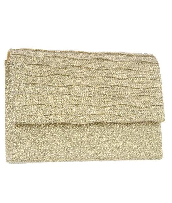 Shimmery square clutch evening bag Gold