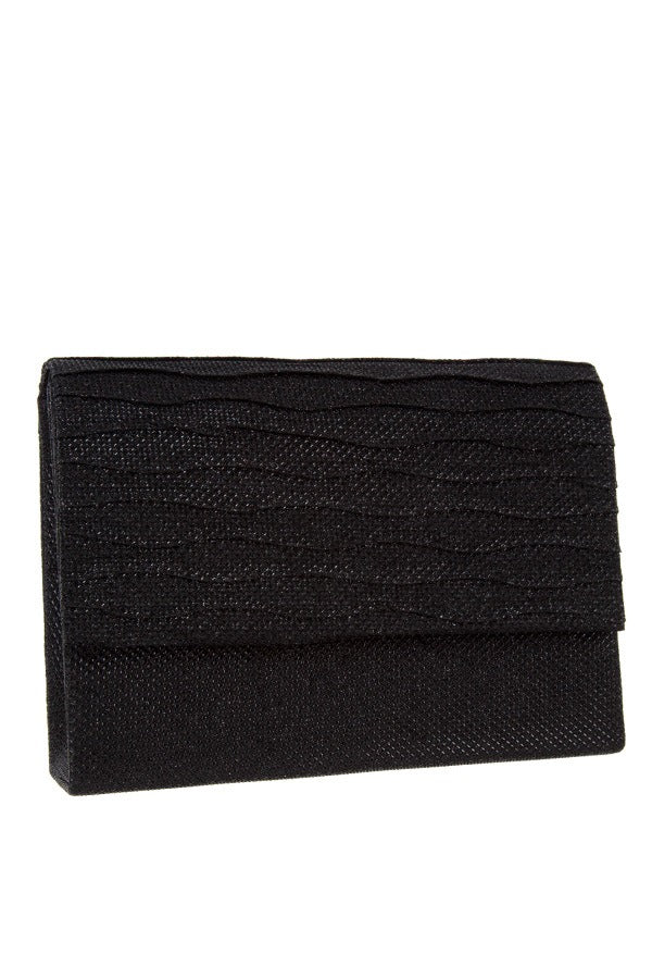 Shimmery square clutch evening bag Black