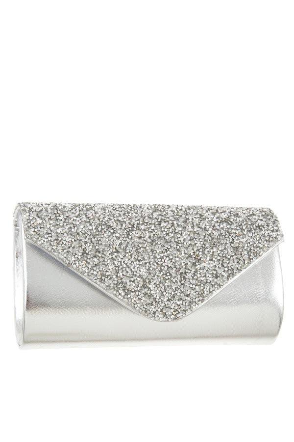 Encrusted rhinestone pave evening clutch bag Silver