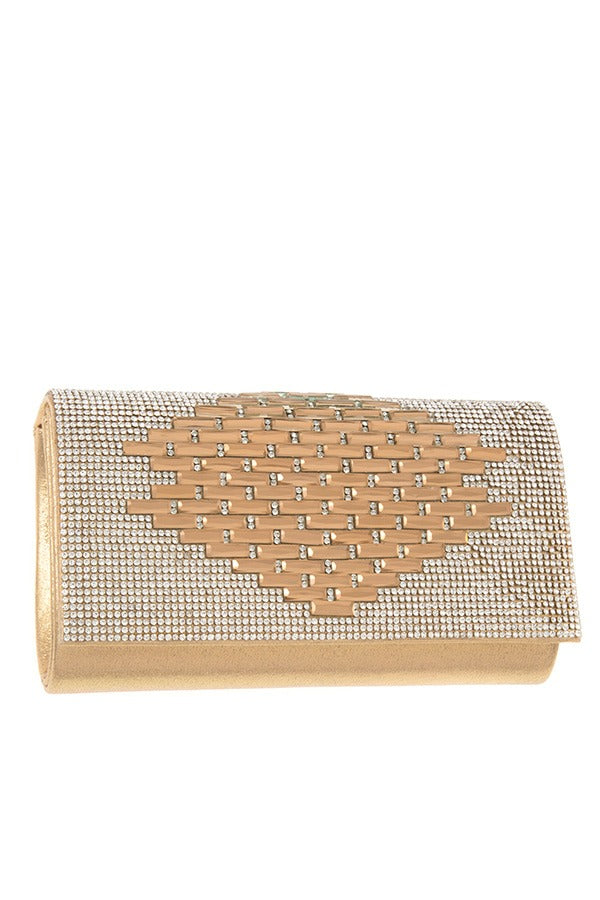 Rhinestone pave pattern evening clutch bag Gold