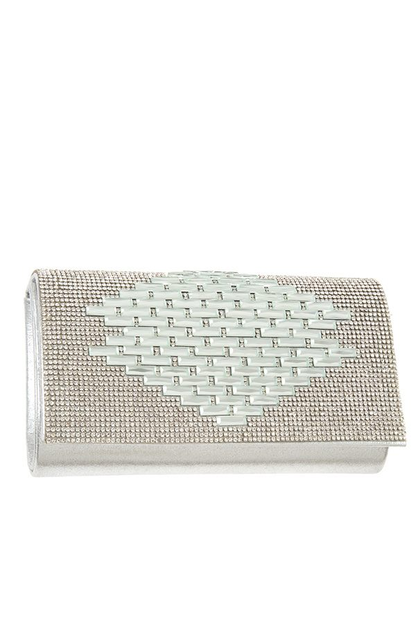 Rhinestone pave pattern evening clutch bag Silver
