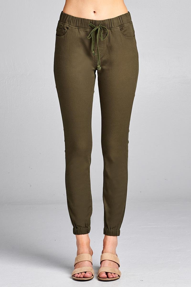 Ladies fashion waist drawstring elastic hem pants Olive