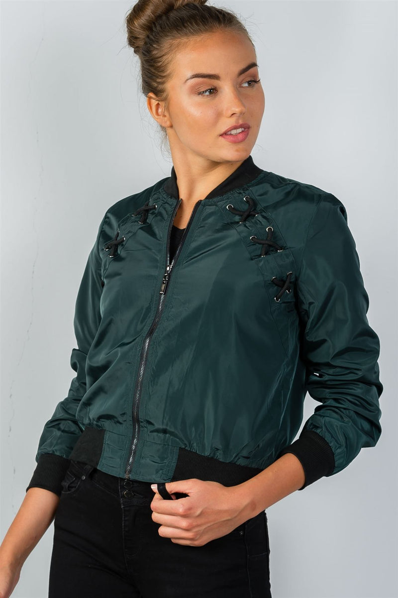Ladies fashion front zipper closure sides lace-up bomber jacket S