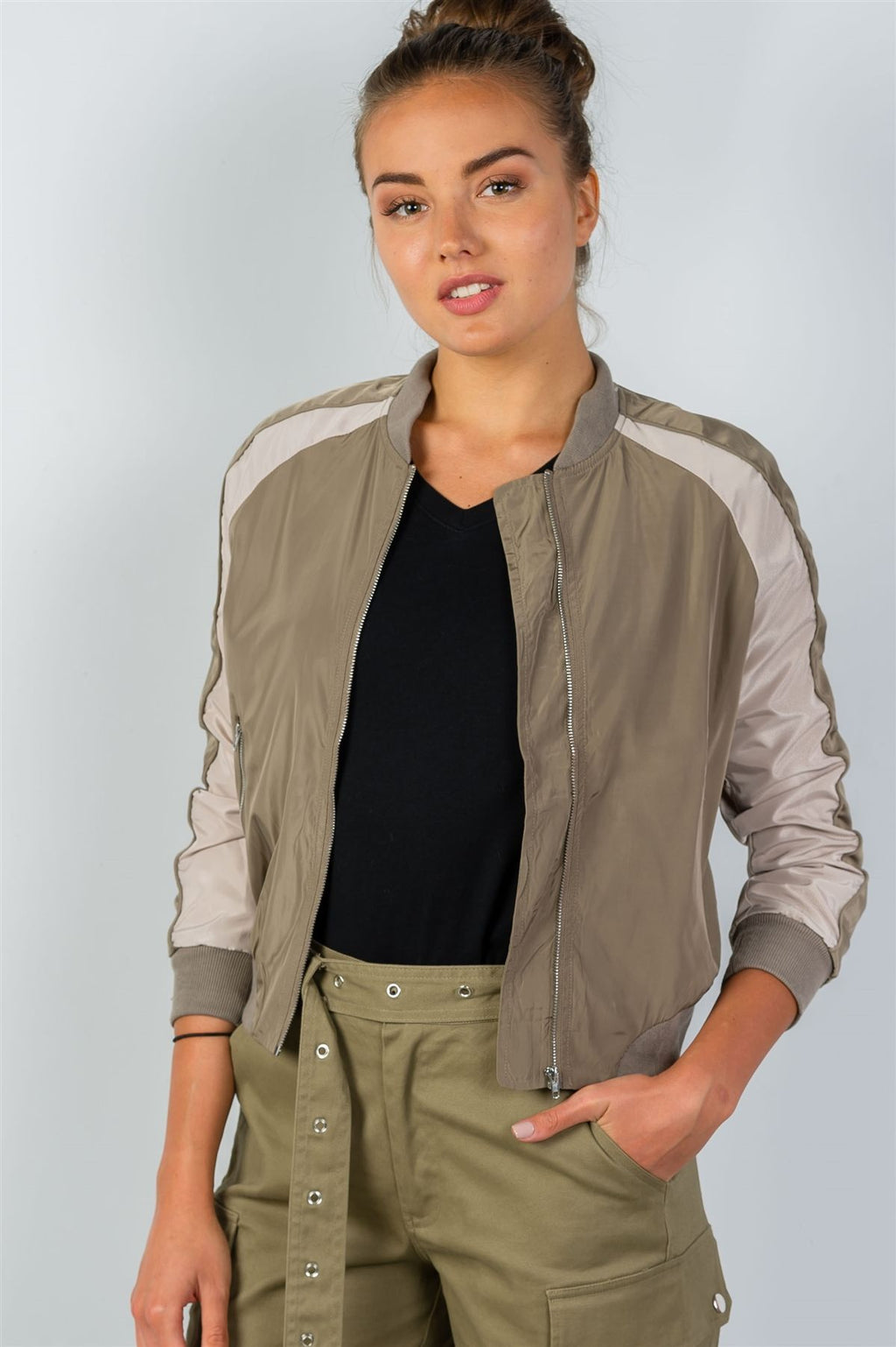 Ladies fashion color block stand collar zipper long sleeve bomber jacket Khaki