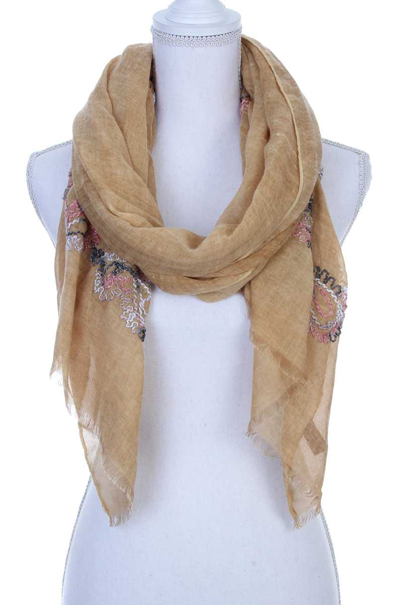 Sheer Embroidered Oblong Scarf Mustard