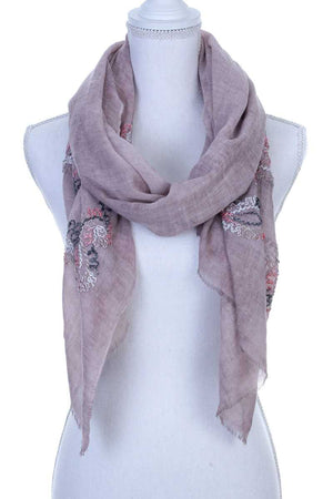 Sheer Embroidered Oblong Scarf Pink
