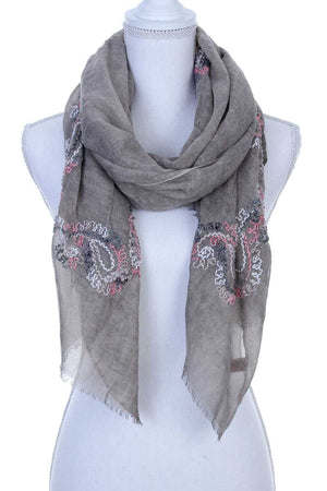Sheer Embroidered Oblong Scarf Taupe