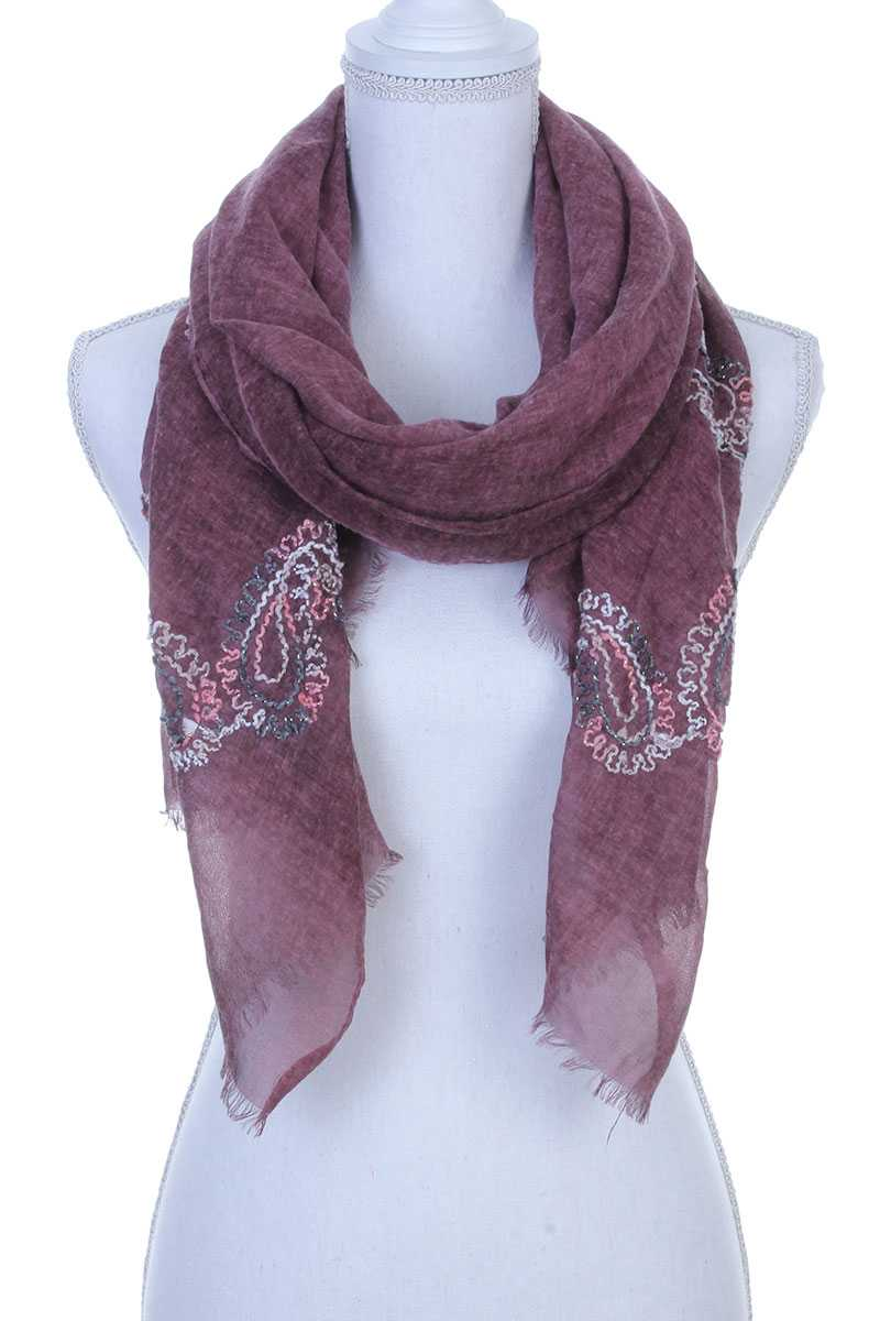 Sheer Embroidered Oblong Scarf Burgundy
