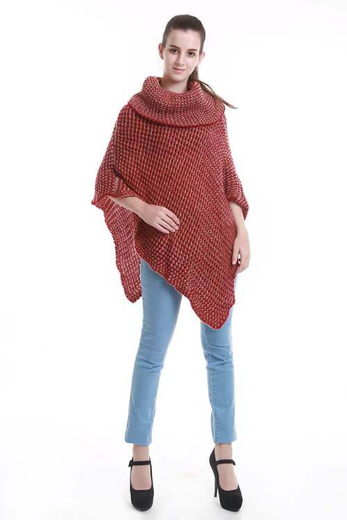 Two-tone turtleneck knit poncho Burgundy