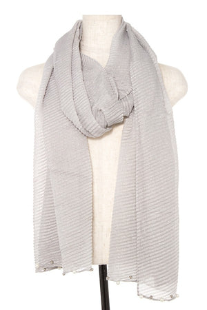Pleated Pearl and Bead Accent Oblong Scarf Grey