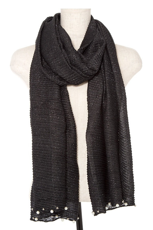 Pleated Pearl and Bead Accent Oblong Scarf Black
