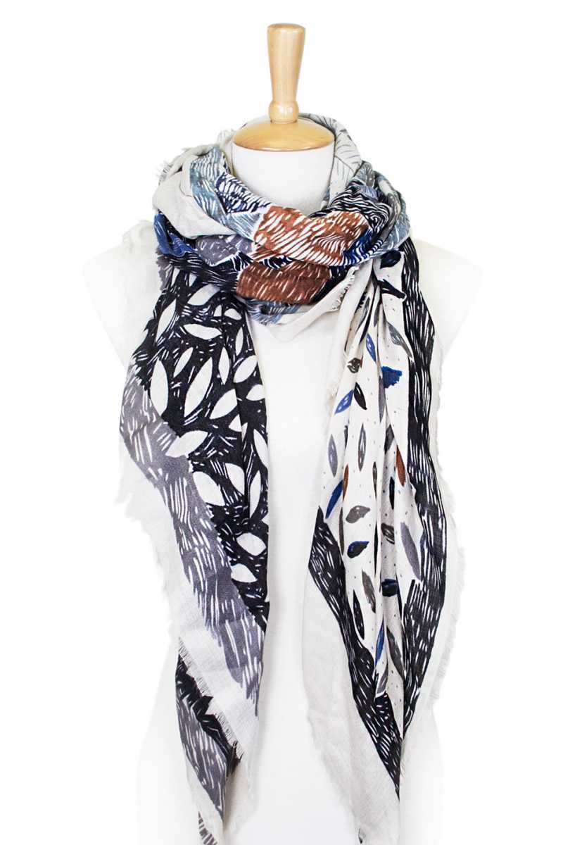 Flower sketch print square scarf Grey
