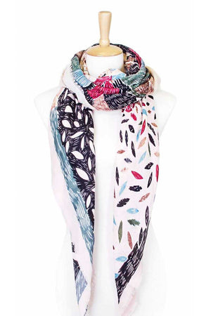 Flower sketch print square scarf Ivory