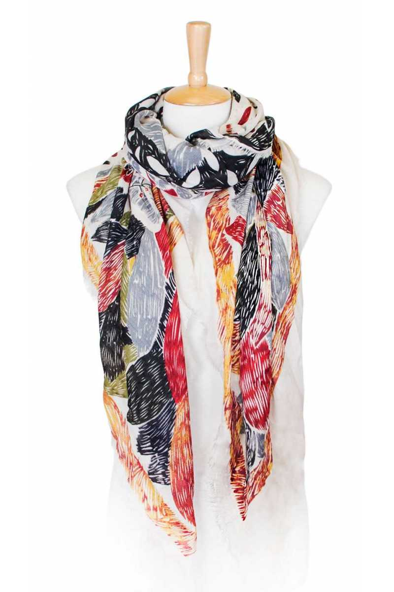 Flower sketch print square scarf Pink