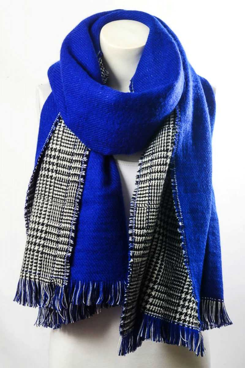 Reversible Hounds Tooth Solid Frayed Border Scarf Cobalt