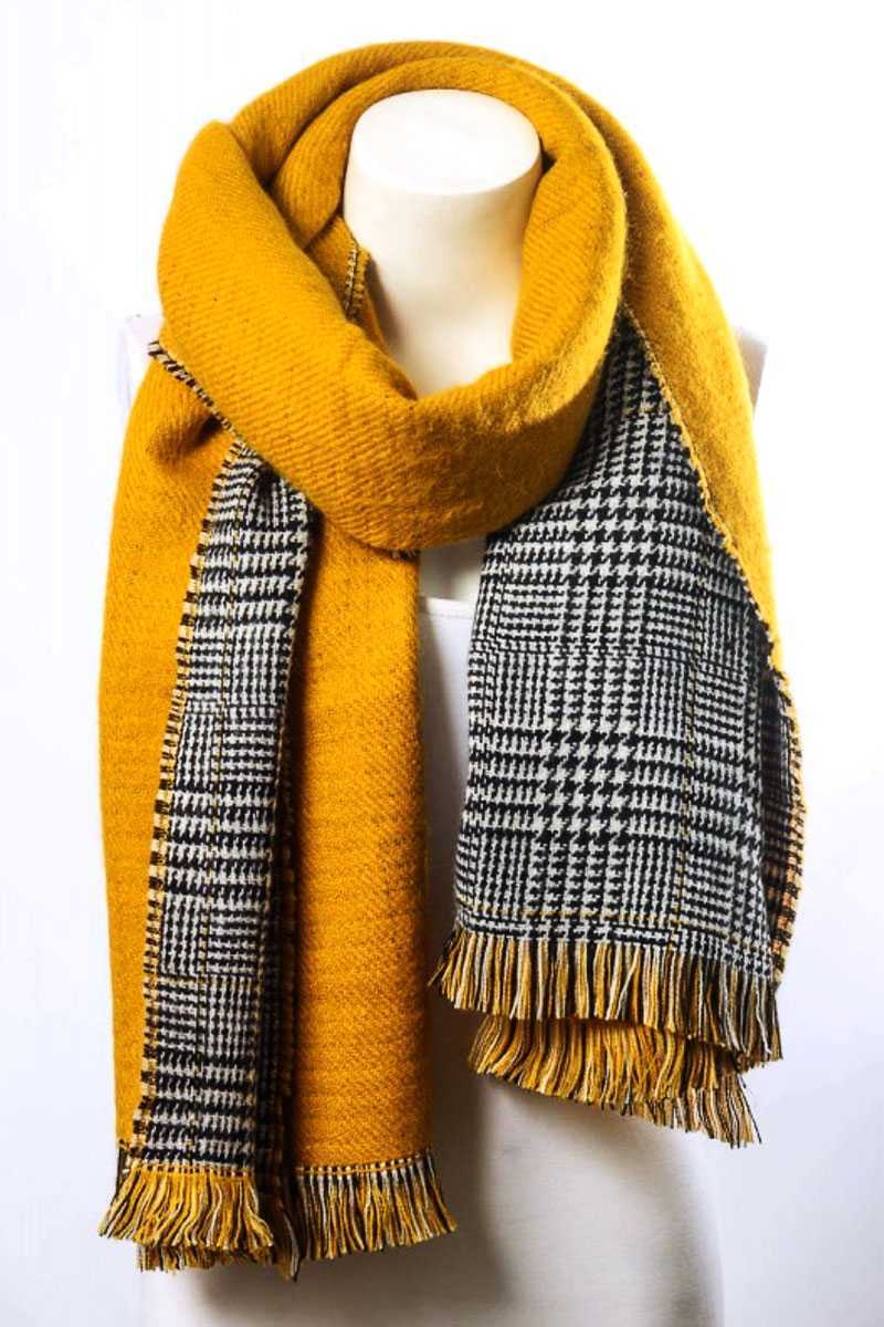 Reversible Hounds Tooth Solid Frayed Border Scarf Mustard