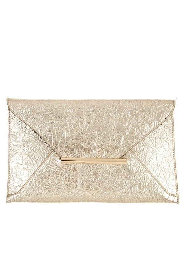 Faux wrinkled leather clutch bag Gold