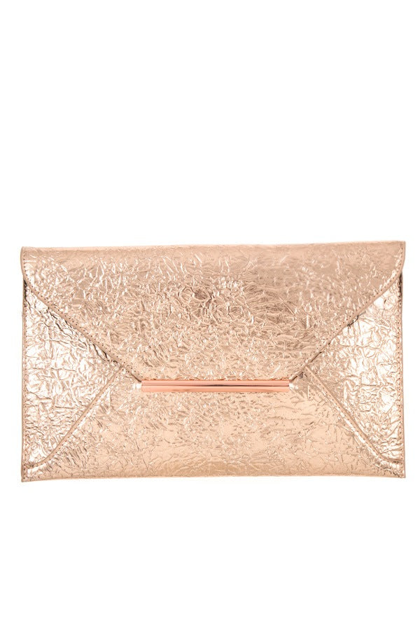 Faux wrinkled leather clutch bag Rose Gold