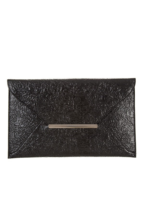 Faux wrinkled leather clutch bag Black