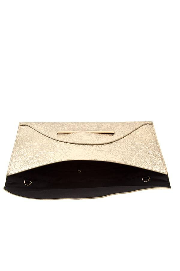 Faux wrinkled leather clutch bag