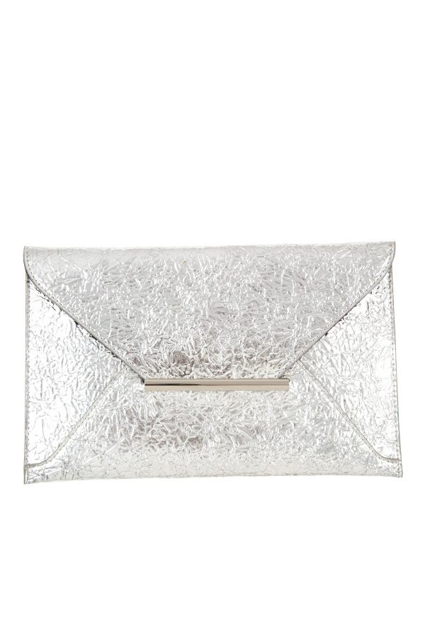 Faux wrinkled leather clutch bag Silver
