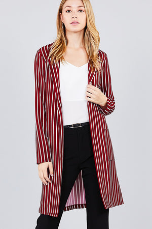 Long sleeve notched collar open front red striped long jacket S