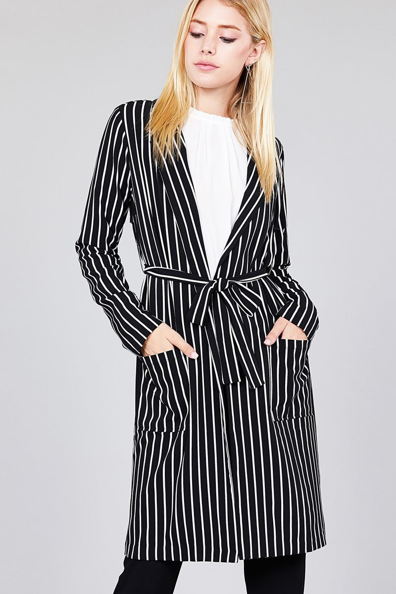 Long sleeve notched collar open front black striped long jacket S