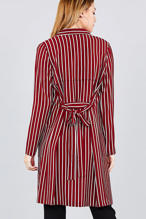 Long sleeve notched collar open front red striped long jacket