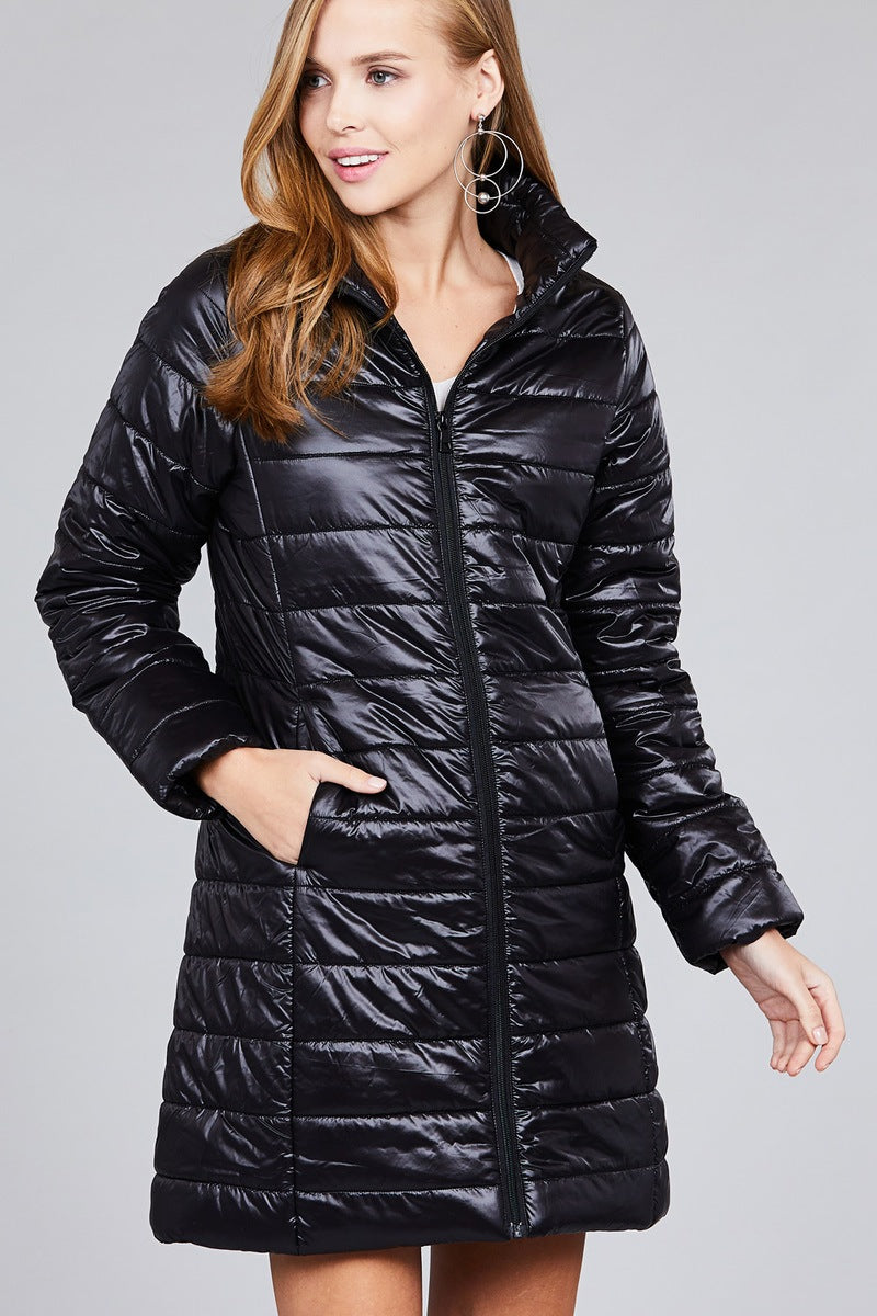 Black Quilted Puffer Jacket S