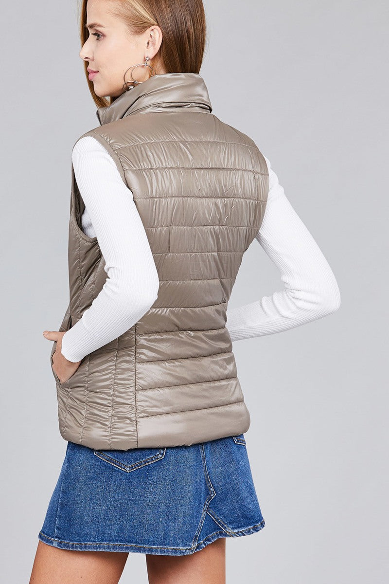 Taupe Quilted Puffer Vest