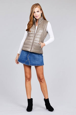 Taupe Quilted Puffer Vest S