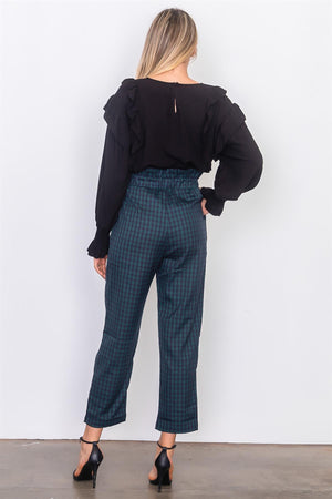 plaid paper bag pants Grey/White