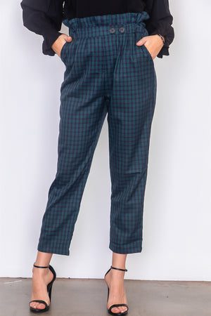 plaid paper bag pants Indigo/Green