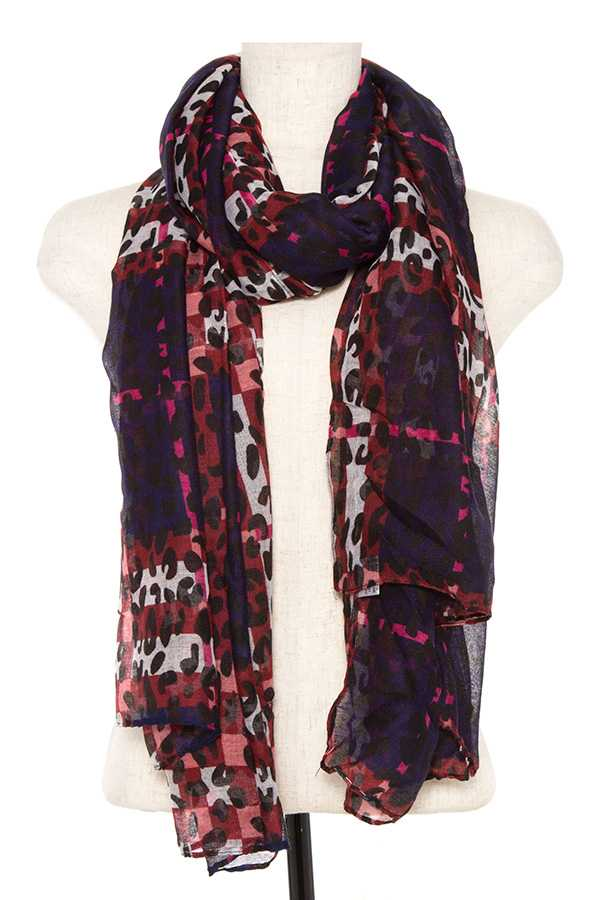 Animal Print Scarf Burgundy