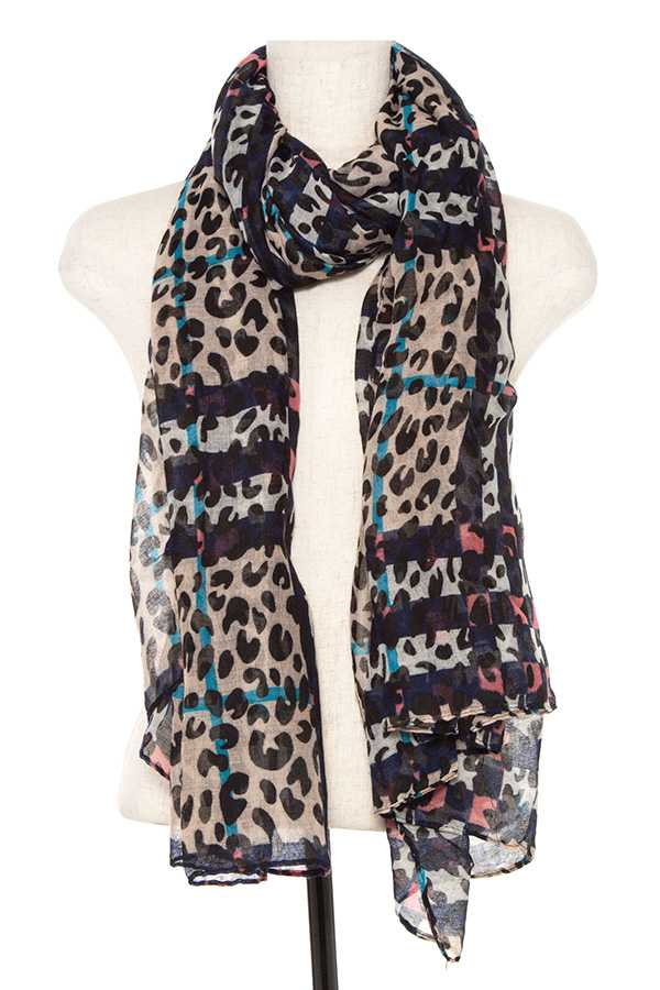 Animal Print Scarf Navy