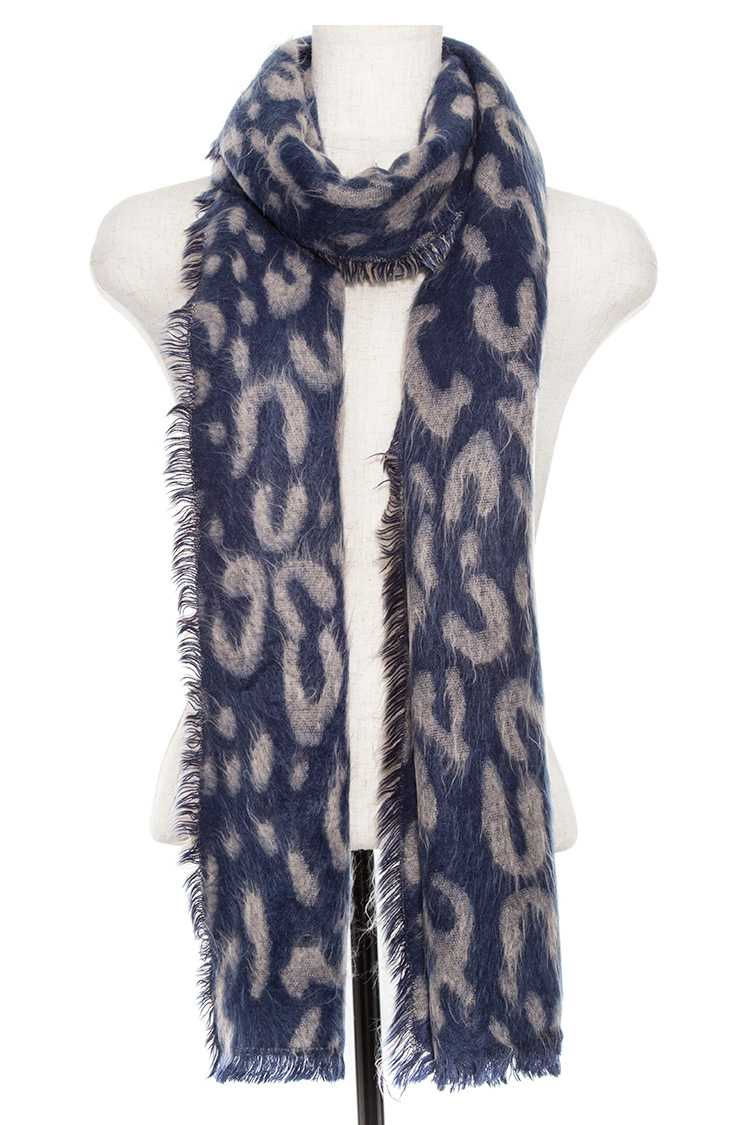 Animal print oblong fringe scarf Navy