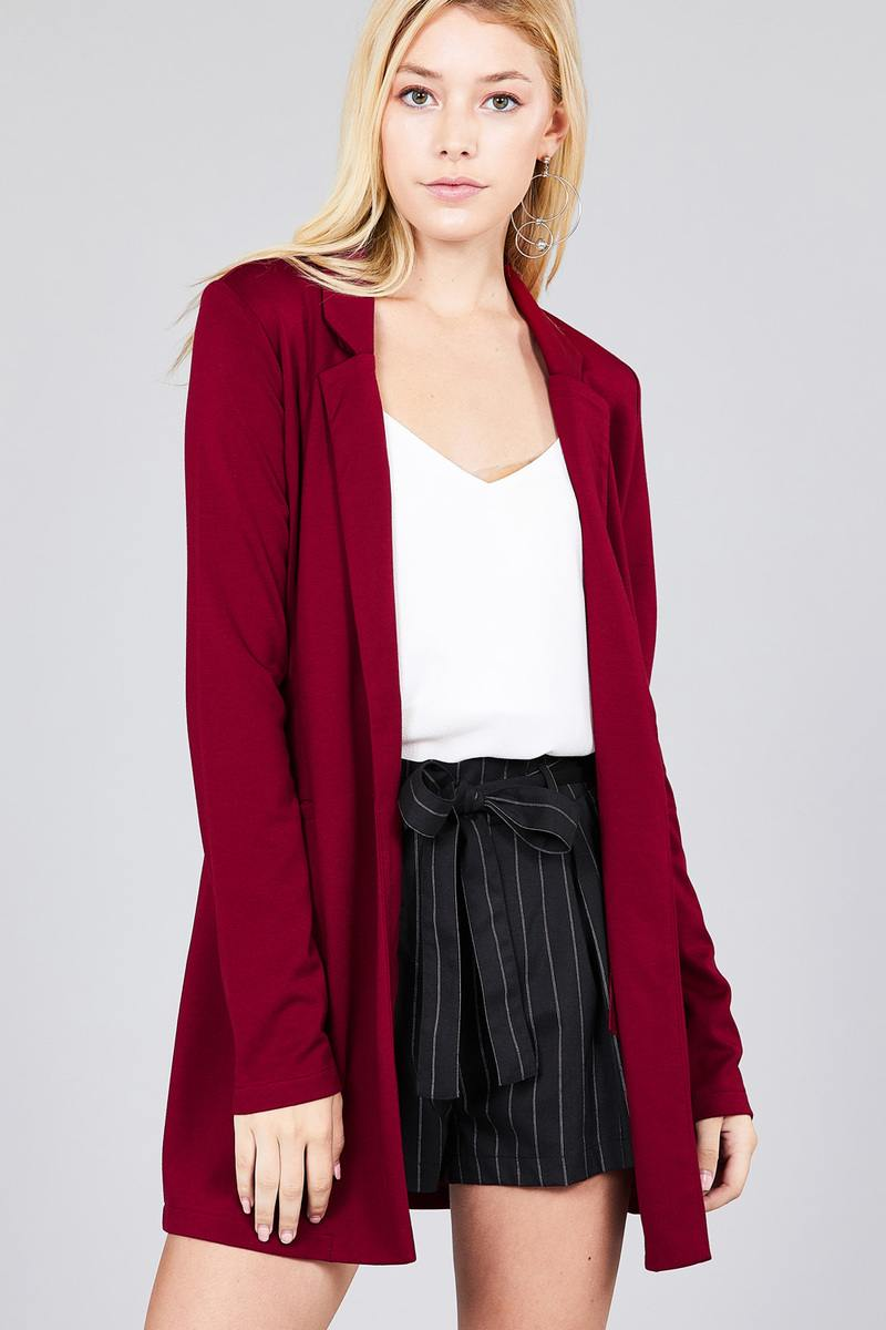 Long Sleeve Notched Collar with pocket Red Tunic Jacket S