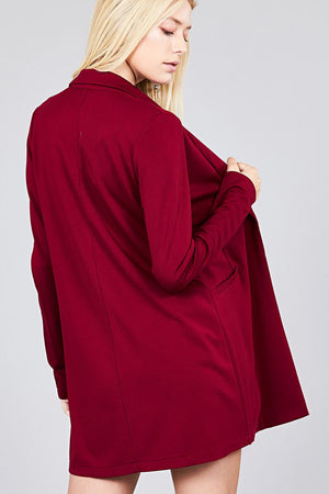 Long Sleeve Notched Collar with pocket Red Tunic Jacket