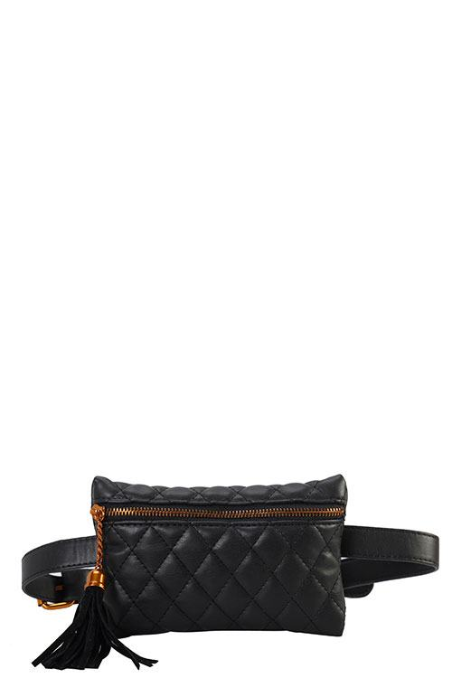 Designer Quilted Belt Fanny Waist Bag Black