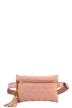 Designer Quilted Belt Fanny Waist Bag Blush