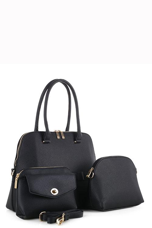 Designer 3 In 1 Tote Bag Set Black