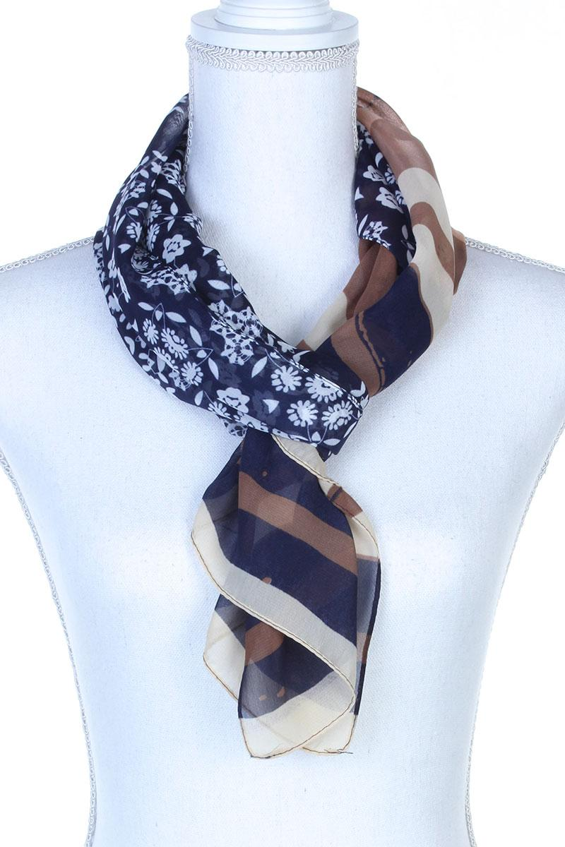 Sheer Color Block Oblong Scarf Navy