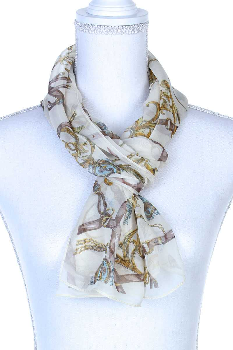 Sheer Oblong Scarf Beige